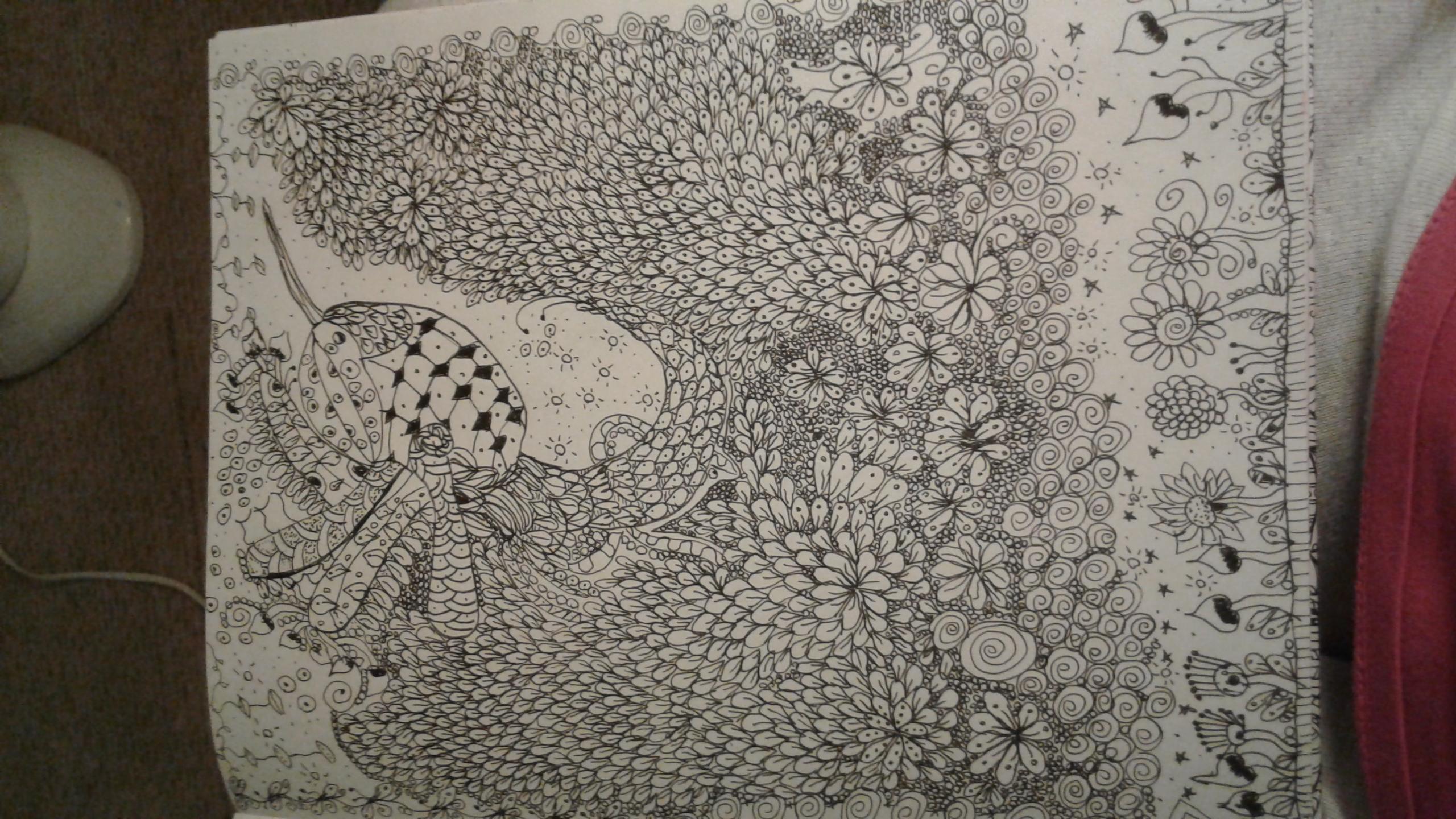 Hummingbird inspired with zentangles