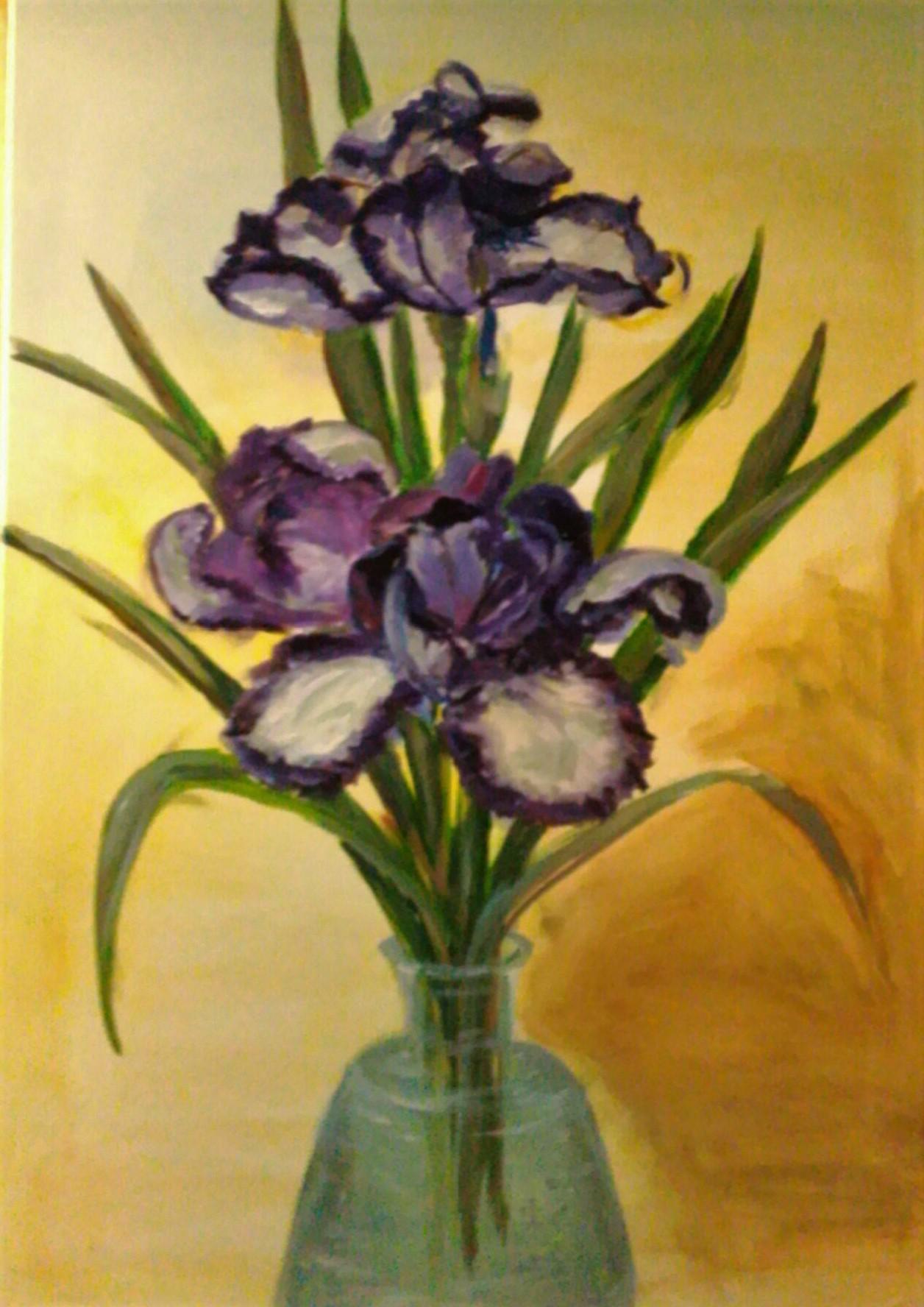 """Violet irises"", acrylic on canvas, 50×70 cm"