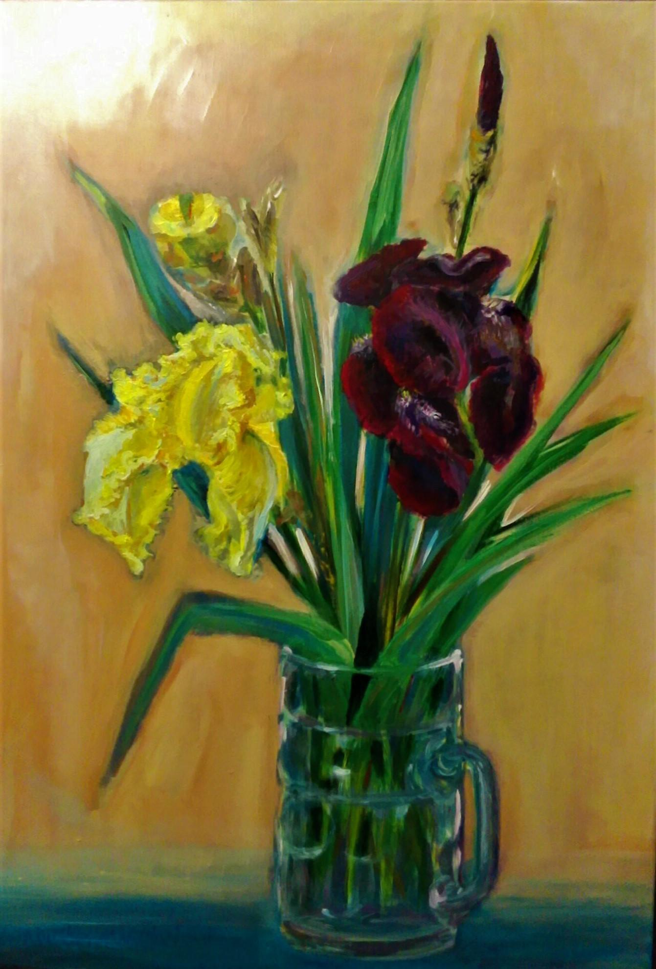 """Irises"", acrylic on canvas, 50×70 cm"
