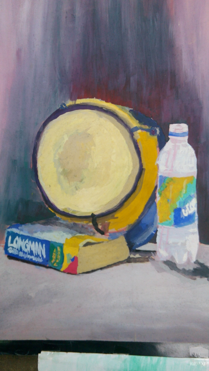 Still life painting composition of bottle,dictionary and drum