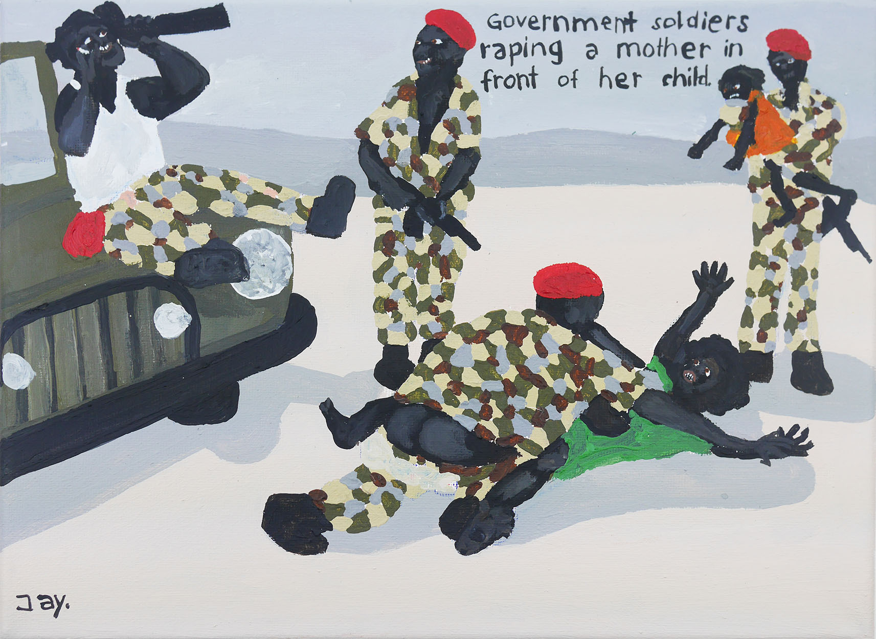 Bad Painting number 54: Government soldiers raping a mother in front of her child.
