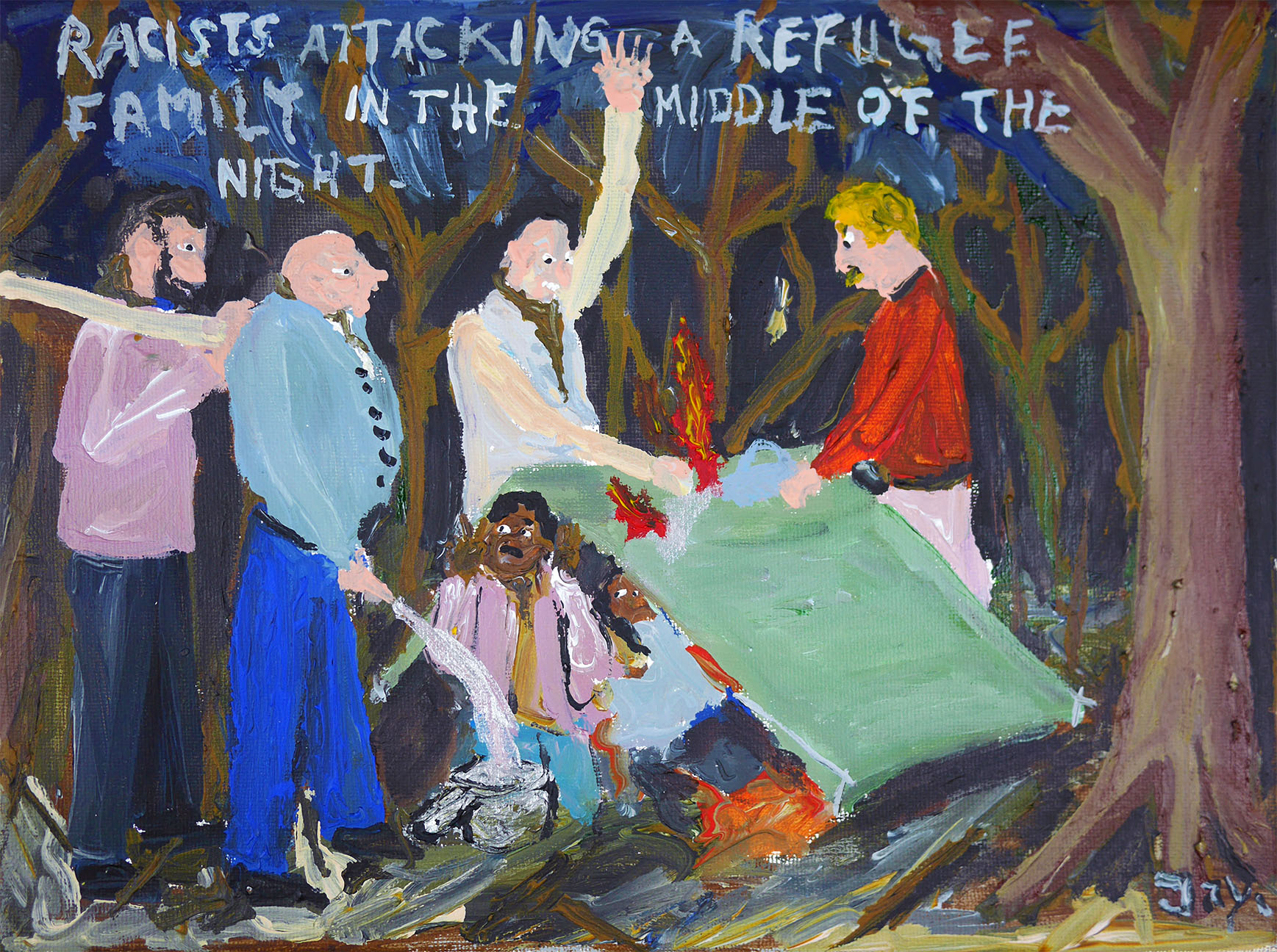Bad Painting number 75: Racists attacking a refugee family in the middle of the night.