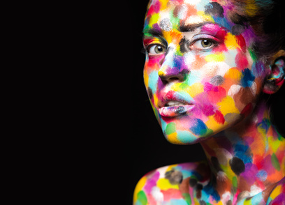 Woman with paint on her face