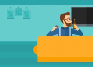 Cartoon image of a man sat watching TV