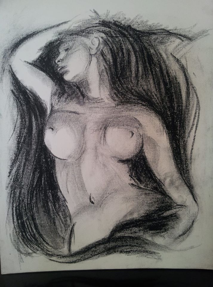Charcoal sketch of a woman